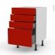 GINKO Rouge - Meuble casserolier  - 4 tiroirs - L50xH70xP58