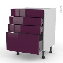 Meuble de cuisine - Casserolier - KERIA Aubergine - 4 tiroirs - L60 x H70 x P58 cm