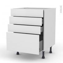 Meuble de cuisine - Casserolier - GINKO Blanc - 4 tiroirs - L60 x H70 x P58 cm