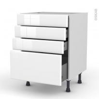 Meuble de cuisine - Casserolier - IRIS Blanc - 4 tiroirs - L60 x H70 x P58 cm