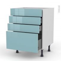 KERIA Bleu - Meuble casserolier  - 4 tiroirs - L60xH70xP58