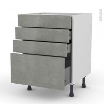 FAKTO Béton - Meuble casserolier  - 4 tiroirs - L60xH70xP58