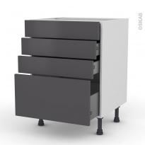 Meuble de cuisine - Casserolier - GINKO Gris - 4 tiroirs - L60 x H70 x P58 cm