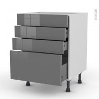 Meuble de cuisine - Casserolier - STECIA Gris - 4 tiroirs - L60 x H70 x P58 cm