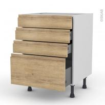 Meuble de cuisine - Casserolier - IPOMA Chêne naturel - 4 tiroirs - L60 x H70 x P58 cm