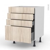 IKORO Chêne clair - Meuble casserolier  - 4 tiroirs - L60xH70xP58