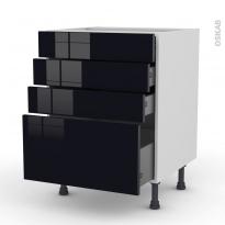 Meuble de cuisine - Casserolier - KERIA Noir - 4 tiroirs - L60 x H70 x P58 cm