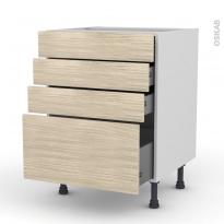 Meuble de cuisine - Casserolier - STILO Noyer Blanchi - 4 tiroirs - L60 x H70 x P58 cm