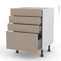 Meuble de cuisine - Casserolier - GINKO Taupe - 4 tiroirs - L60 x H70 x P58 cm