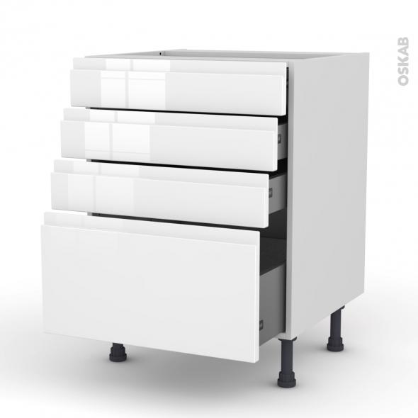 Meuble de cuisine - Casserolier - IPOMA Blanc brillant - 4 tiroirs - L60 x H70 x P58 cm
