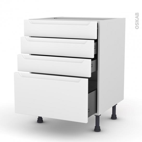 Meuble de cuisine - Casserolier - PIMA Blanc - 4 tiroirs - L60 x H70 x P58 cm