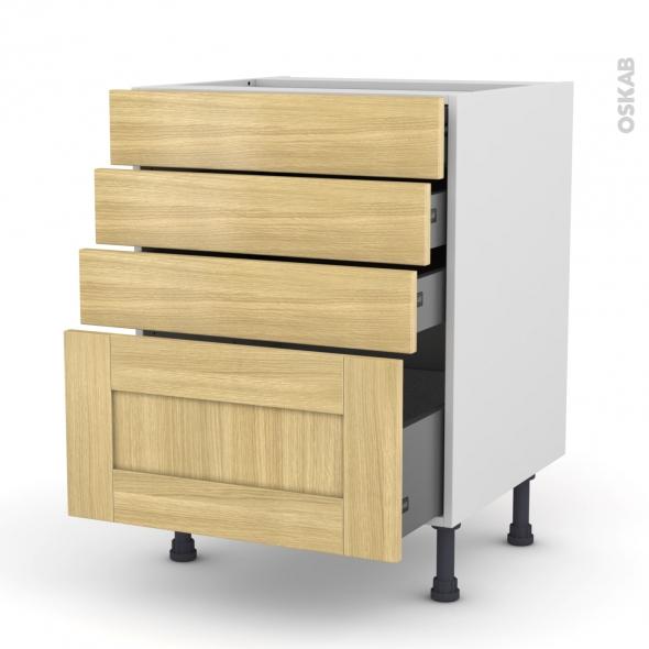 BASILIT Bois Brut - Meuble casserolier  - 4 tiroirs - L60xH70xP58
