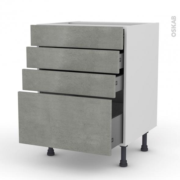 Meuble de cuisine - Casserolier - FAKTO Béton - 4 tiroirs - L60 x H70 x P58 cm
