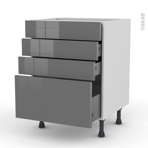 STECIA Gris - Meuble casserolier  - 4 tiroirs - L60xH70xP58