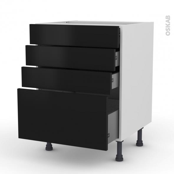 Meuble de cuisine - Casserolier - GINKO Noir - 4 tiroirs - L60 x H70 x P58 cm