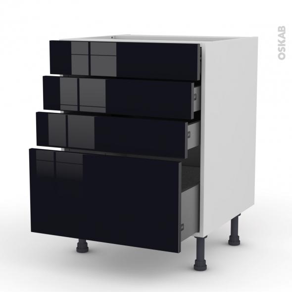 KERIA Noir - Meuble casserolier  - 4 tiroirs - L60xH70xP58