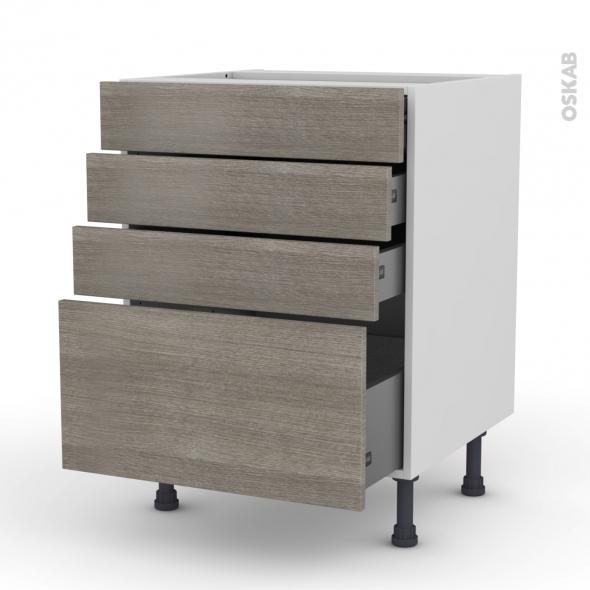 Meuble de cuisine - Casserolier - STILO Noyer Naturel - 4 tiroirs - L60 x H70 x P58 cm