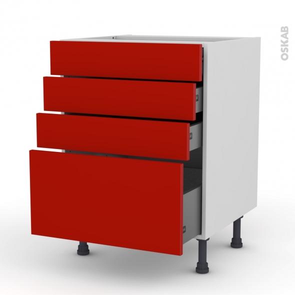 GINKO Rouge - Meuble casserolier  - 4 tiroirs - L60xH70xP58