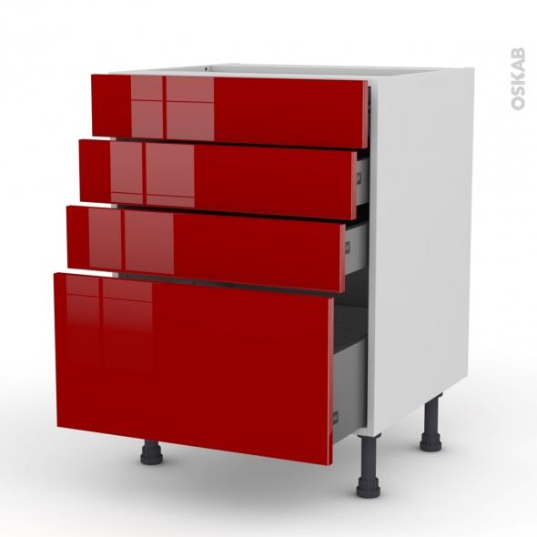 Meuble de cuisine - Casserolier - STECIA Rouge - 4 tiroirs - L60 x H70 x P58 cm