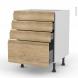 IPOMA Chêne Naturel - Meuble casserolier  - 4 tiroirs - L60xH70xP58
