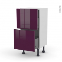 Meuble de cuisine - Casserolier - KERIA Aubergine - 2 tiroirs - L40 x H70 x P37 cm