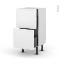 Meuble de cuisine - Casserolier - PIMA Blanc - 2 tiroirs - L40 x H70 x P37 cm