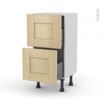 BASILIT Bois Vernis - Meuble casserolier prof.37  - 2 tiroirs - L40xH70xP37