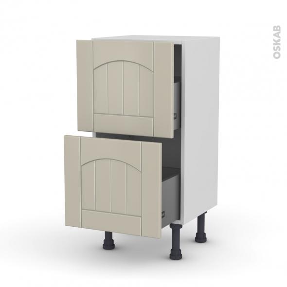 SILEN Argile - Meuble casserolier prof.37 - 2 tiroirs - L40xH70xP37