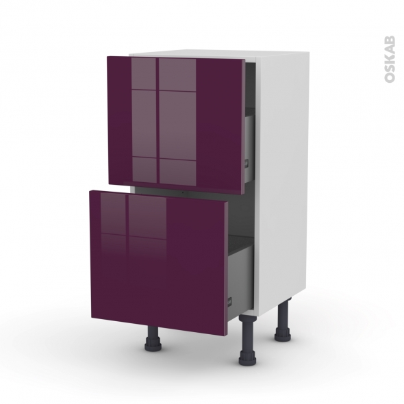 KERIA Aubergine - Meuble casserolier prof.37  - 2 tiroirs - L40xH70xP37