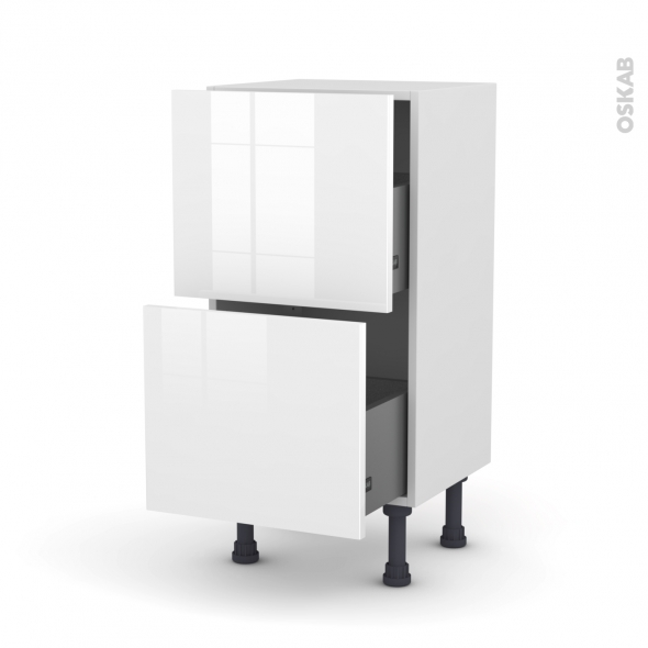 Meuble de cuisine - Casserolier - STECIA Blanc - 2 tiroirs - L40 x H70 x P37 cm