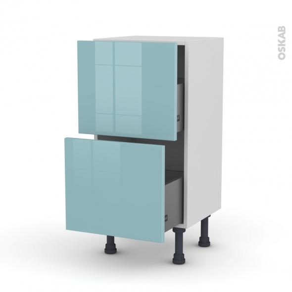 Meuble de cuisine - Casserolier - KERIA Bleu - 2 tiroirs - L40 x H70 x P37 cm