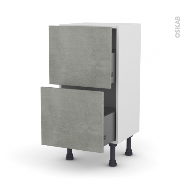 FAKTO Béton - Meuble casserolier prof.37  - 2 tiroirs - L40xH70xP37