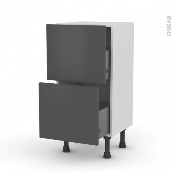 Meuble de cuisine - Casserolier - GINKO Gris - 2 tiroirs - L40 x H70 x P37 cm