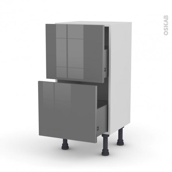 Meuble de cuisine - Casserolier - STECIA Gris - 2 tiroirs - L40 x H70 x P37 cm