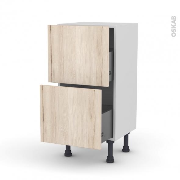 Meuble de cuisine - Casserolier - IKORO Chêne clair - 2 tiroirs - L40 x H70 x P37 cm