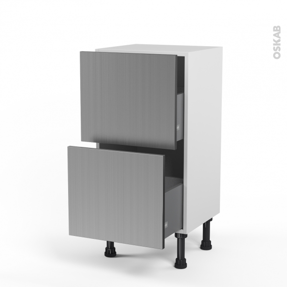 STILO Inox - Meuble casserolier prof.37  - 2 tiroirs - L40xH70xP37