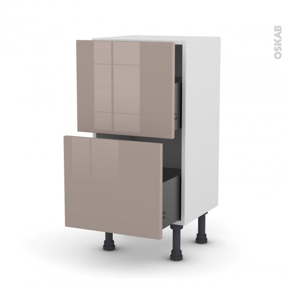 Meuble de cuisine - Casserolier - KERIA Moka - 2 tiroirs - L40 x H70 x P37 cm