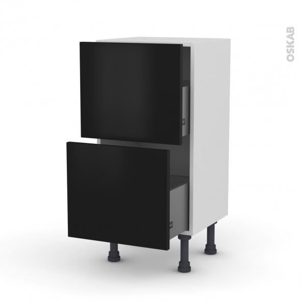 Meuble de cuisine - Casserolier - GINKO Noir - 2 tiroirs - L40 x H70 x P37 cm