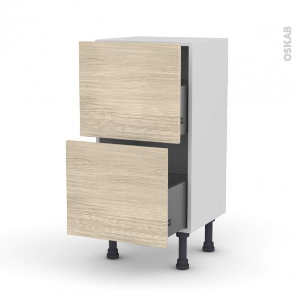 Meuble de cuisine - Casserolier - STILO Noyer Blanchi - 2 tiroirs - L40 x H70 x P37 cm