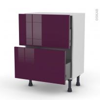 Meuble de cuisine - Casserolier - KERIA Aubergine - 2 tiroirs - L60 x H70 x P37 cm
