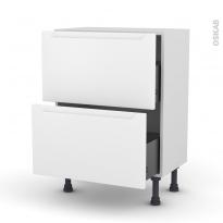 Meuble de cuisine - Casserolier - PIMA Blanc - 2 tiroirs - L60 x H70 x P37 cm
