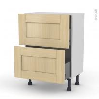 BASILIT Bois Vernis - Meuble casserolier prof.37 - 2 tiroirs - L60xH70xP37