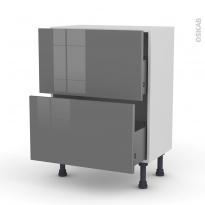 Meuble de cuisine - Casserolier - STECIA Gris - 2 tiroirs - L60 x H70 x P37 cm