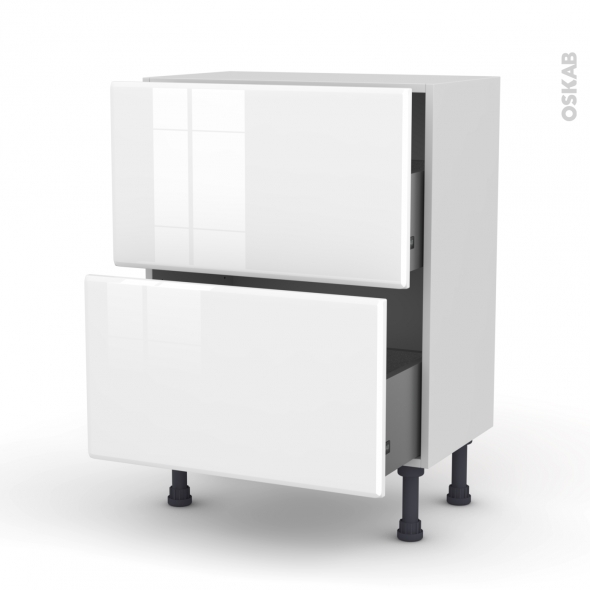 IRIS Blanc - Meuble casserolier prof.37 - 2 tiroirs - L60xH70xP37