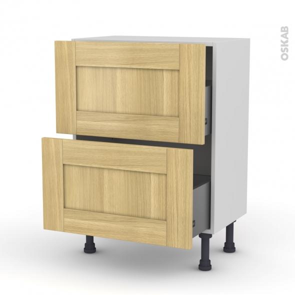 BASILIT Bois Brut - Meuble casserolier prof.37 - 2 tiroirs - L60xH70xP37