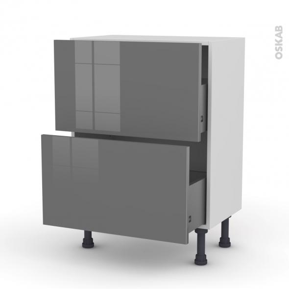 STECIA Gris - Meuble casserolier prof.37  - 2 tiroirs - L60xH70xP37