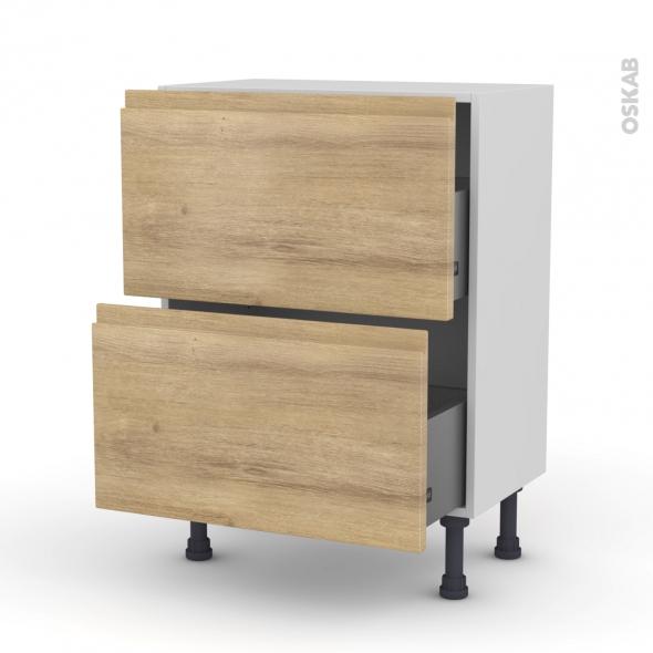 Meuble de cuisine - Casserolier - IPOMA Chêne naturel - 2 tiroirs - L60 x H70 x P37 cm