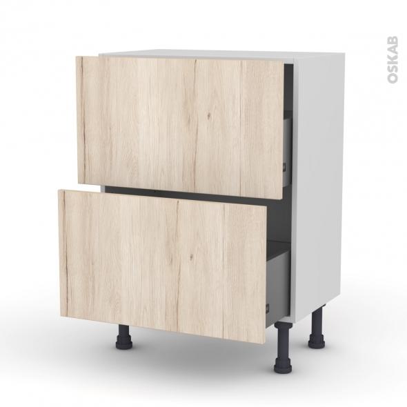 Meuble de cuisine - Casserolier - IKORO Chêne clair - 2 tiroirs - L60 x H70 x P37 cm