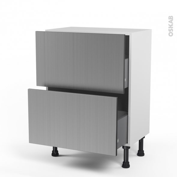 STILO Inox - Meuble casserolier prof.37  - 2 tiroirs - L60xH70xP37