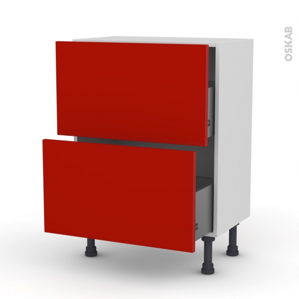 GINKO Rouge - Meuble casserolier prof.37  - 2 tiroirs - L60xH70xP37